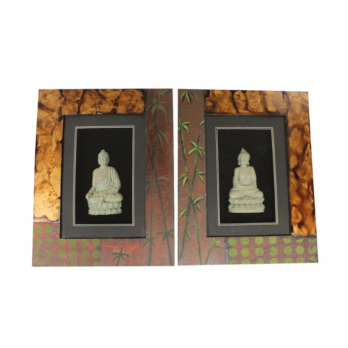 HomeRoots Wooden Buddha Wall Decor, Multicolor, Assortment Of 2
