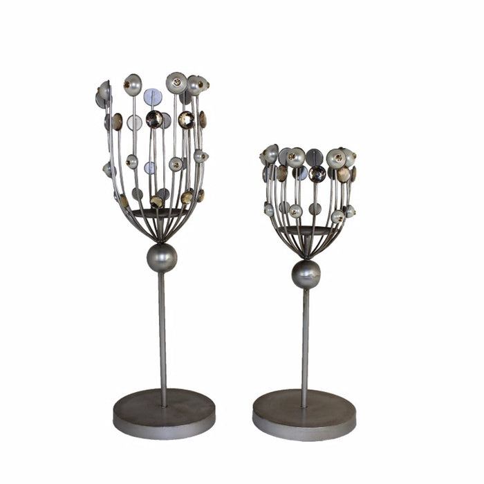 HomeRoots Ravishing Metal Candle Holder, Gray, Set Of 2