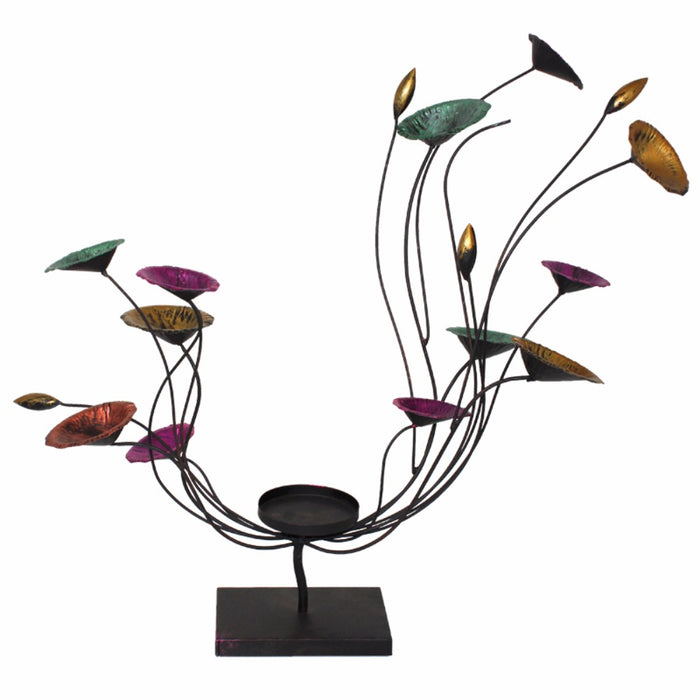 HomeRoots Swingy Flowery Candle Holder,Multicolored