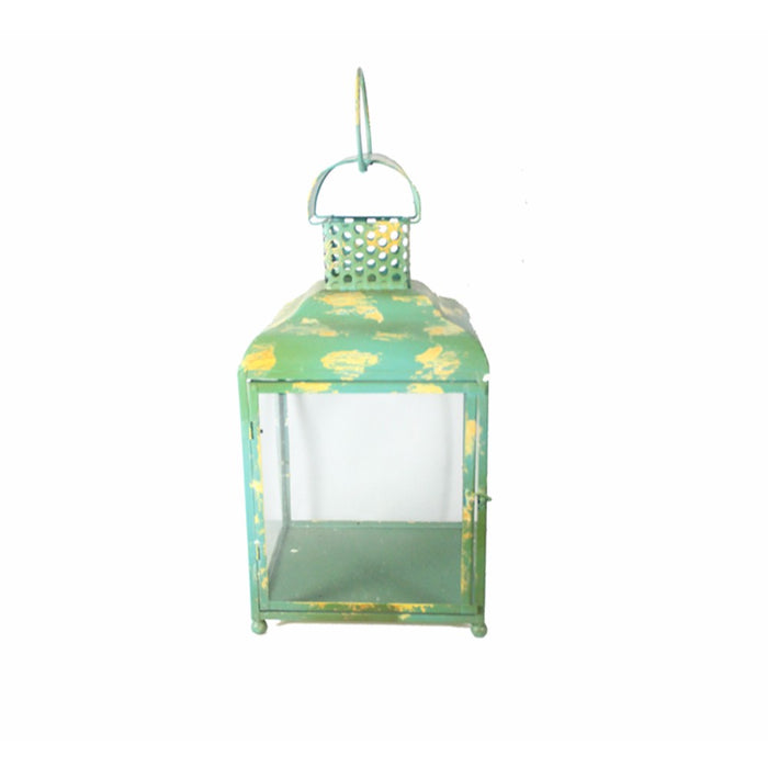 HomeRoots Beguiling Square Metal Candle Holder, Green