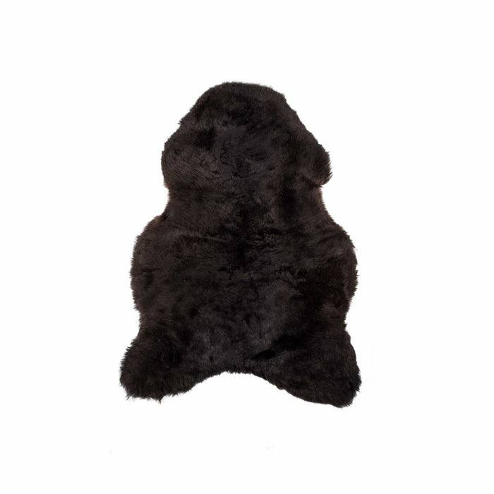 "HomeRoots 24"" x 36"" x 1.5"" x 2"" Blacky Brown Sheepskin Single Short-Haired - Area Rug"