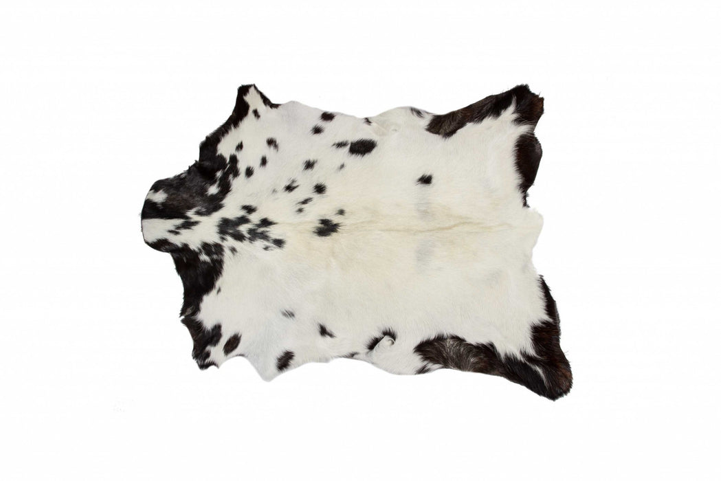 "HomeRoots 2"" x 3"" White And Black Calfskin - Area Rug"