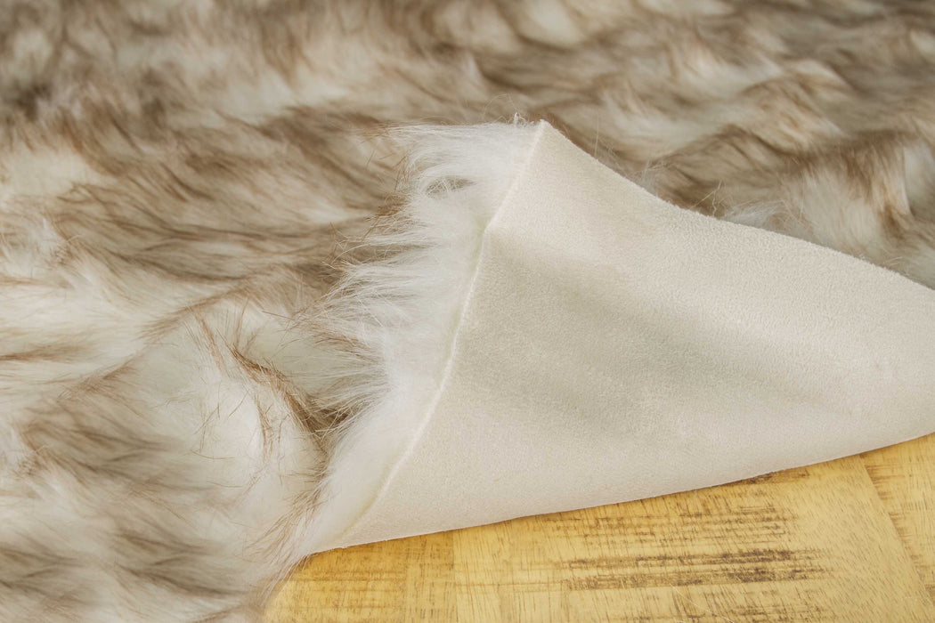 "HomeRoots 24"" x 36"" x 1.5"" Gradient Brown Faux Sheepskin - Area Rug"