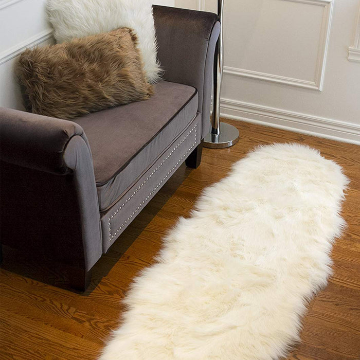 "HomeRoots 24"" x 72"" x 1.5"" Off White Sheepskin Double - Area Rug"
