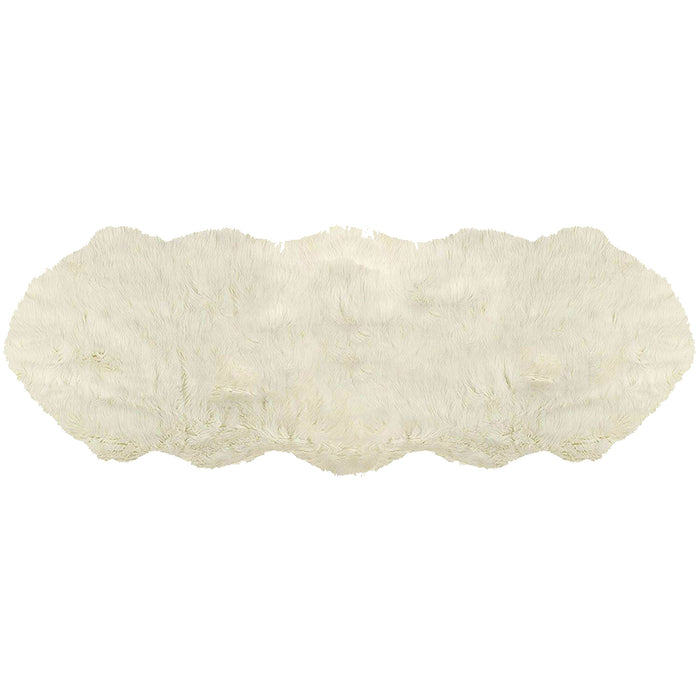 "HomeRoots 48"" x 72"" x 1.5"" Off White Quattro Faux Sheepskin - Area Rug"