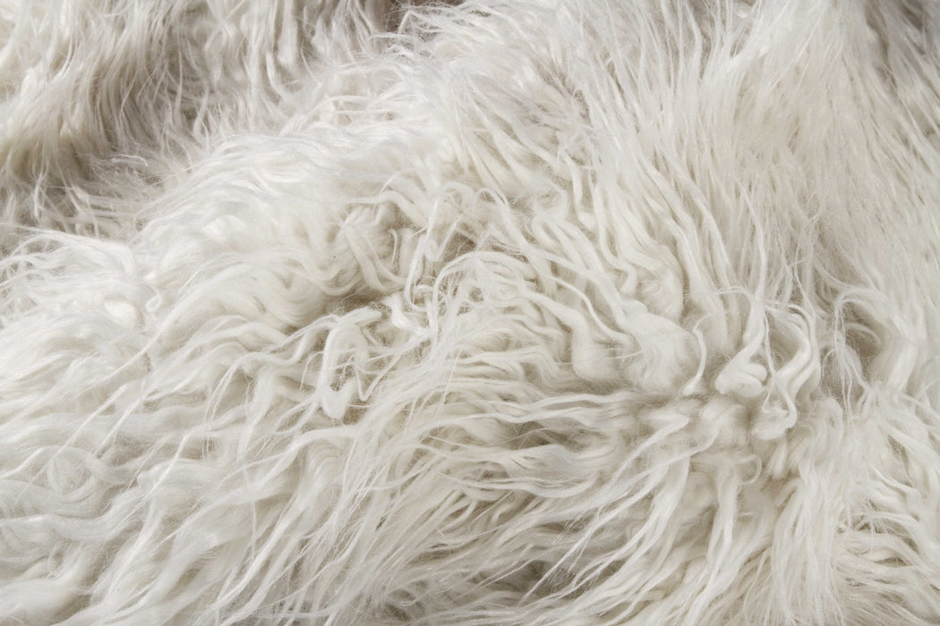 "HomeRoots 24"" x 72"" Stone White, Sheepskin, Faux Fur - Double Rug"