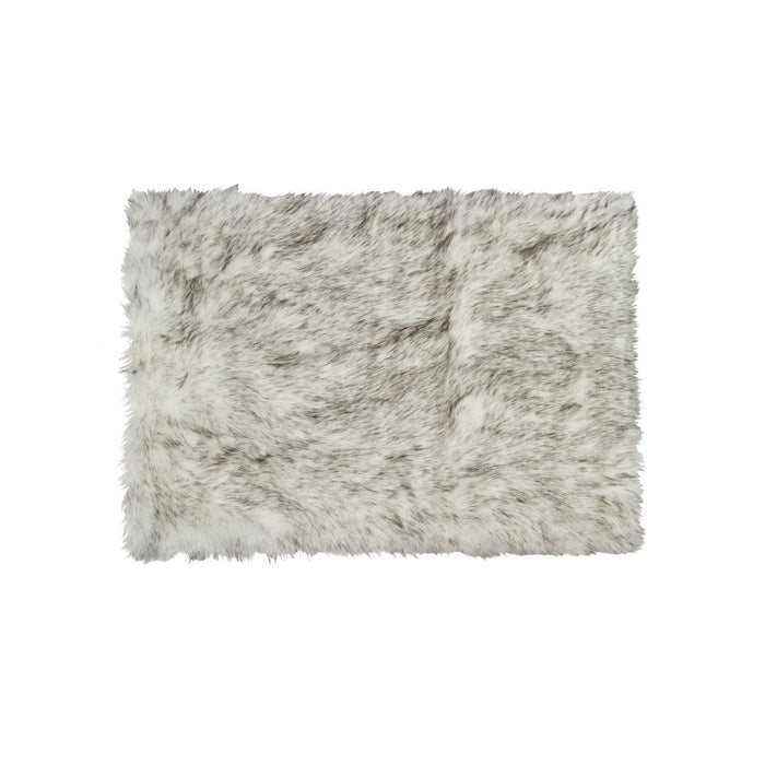 "HomeRoots 4"" x 6"" x 1.5"" Gradient Gray Faux Sheepskin - Area Rug"