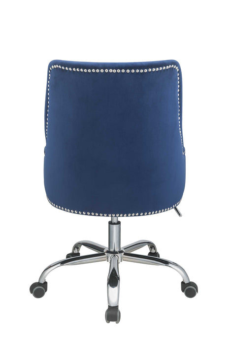 "HomeRoots Office 24"" X 26"" X 38"" Blue Plywood Office Chair"