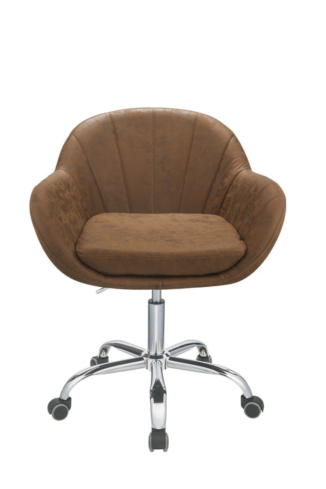 "HomeRoots Office 28"" X 27"" X 31"" Brown Metal Tube Office Chair"