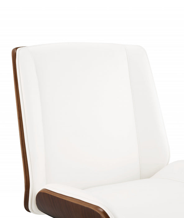 "HomeRoots Office 21"" X 25"" X 34-38"" White Leatherette And Walnut Office Chair"