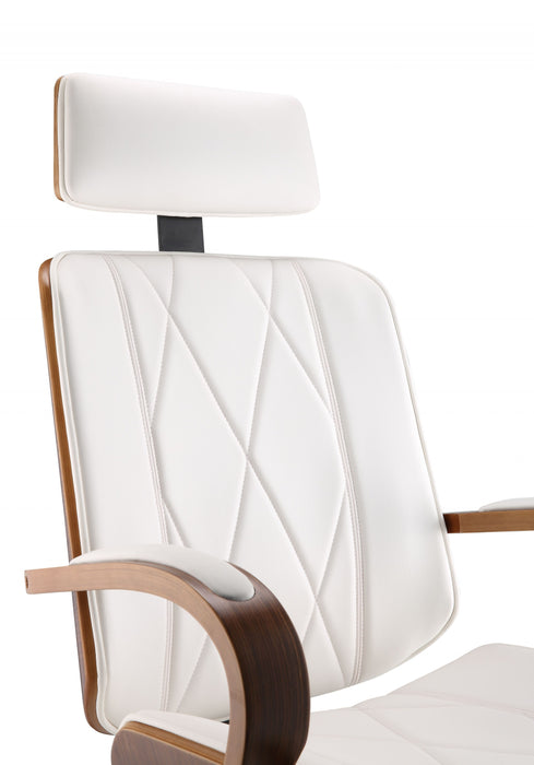"HomeRoots Office 24"" X 26"" X 46-49"" White Leatherette And Walnut Office Chair"