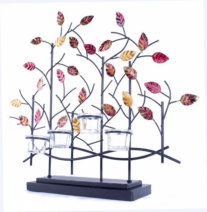 "HomeRoots 22'.5"" X 5"" X 25'.5"" Copper, Red And Gold Metal Tree Foiled And Lacquered Votive Holder"