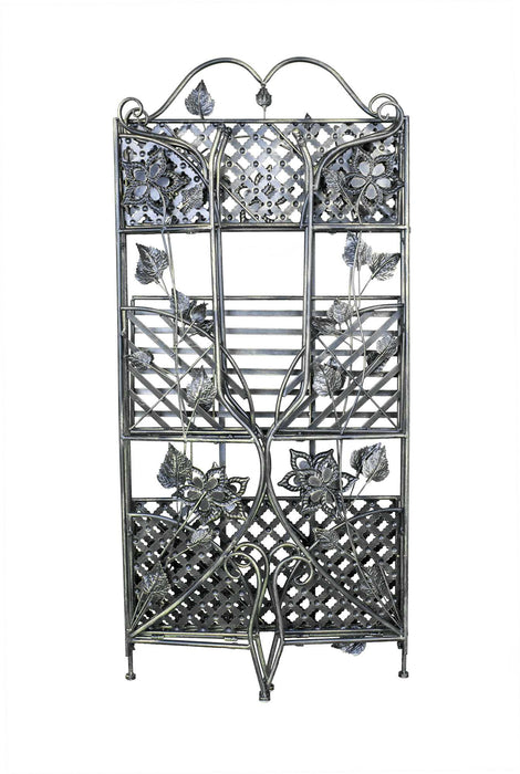 "HomeRoots Office 25"" X 5"" X 50"" Blackened Brass Steel Bakers Rack with  Shelves"