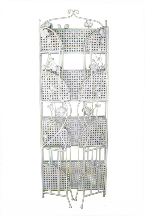 "HomeRoots Office 25"" X 5"" X 68"" Antique White Steel Antique White Bakers Rack with  Shelves"