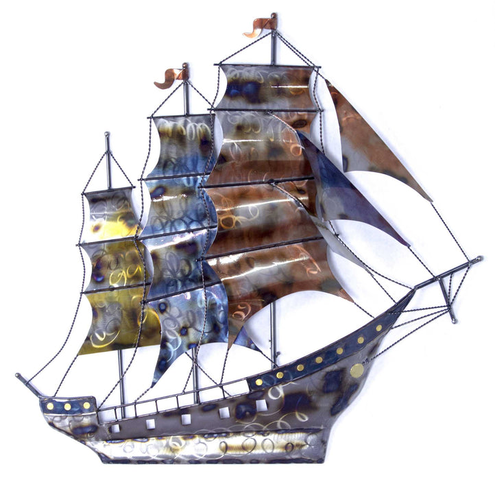 "HomeRoots 41"" X 7"" X 40"" Metallic Multi Color Metal Ship In Storm D Metal Wall Art"