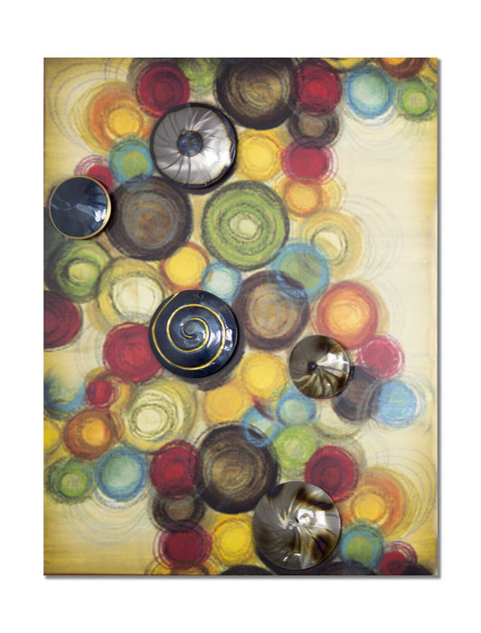 "HomeRoots 34"" X 4"" X 27"" Metallic Multi Color Metal Large Vertical Wall Panel With D Metal Circles"