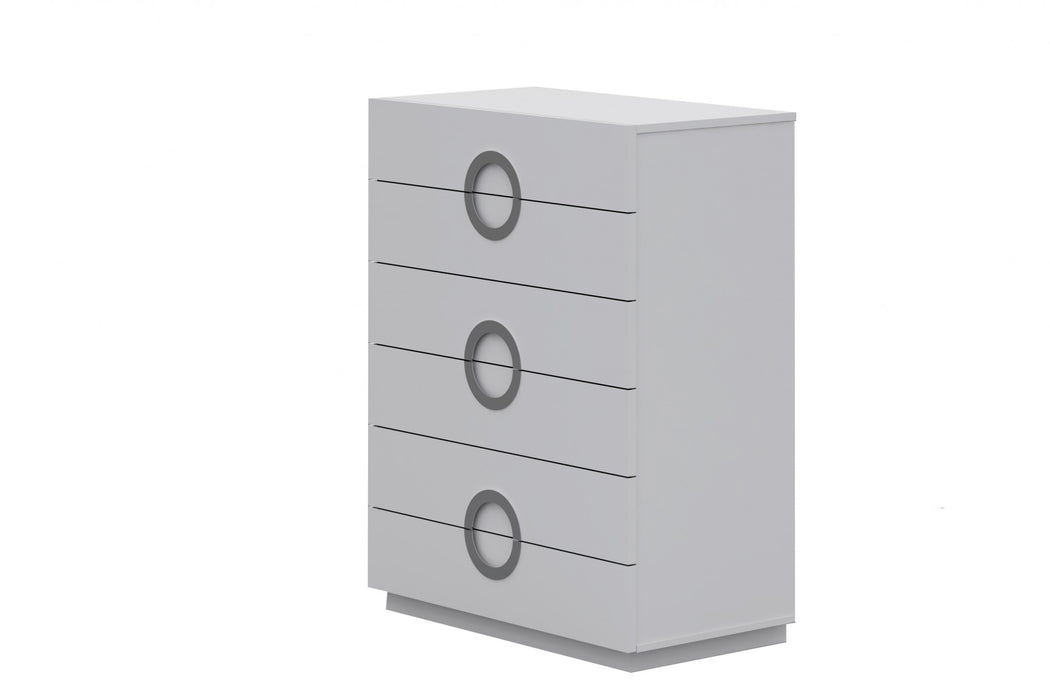 "HomeRoots Office 36"" X 20"" X 48"" Gloss White Stainless Steel 6 Drawer Chest"