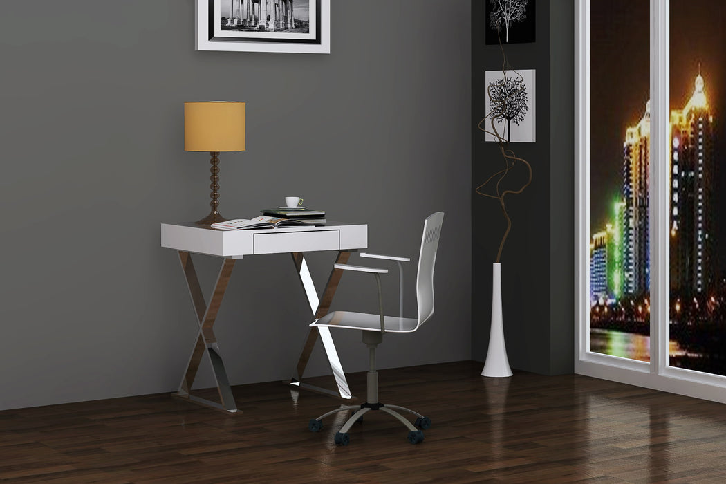HomeRoots Office Desk Small, High Gloss White, One Drawer, Stainless Steel Base
