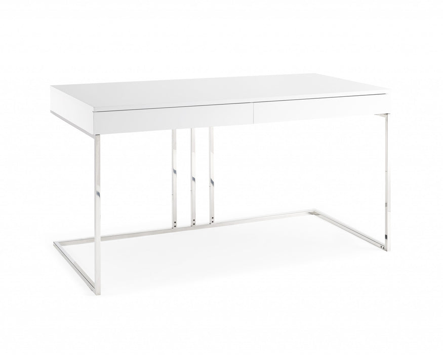 HomeRoots Office Desk In High Gloss White Lacquer With Stainless Steel Base