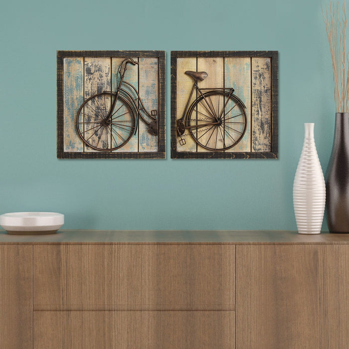"HomeRoots 32"" X 1.38"" X 16"" Multi-color 2Pcs Rustic Bicycle Wall Decor"