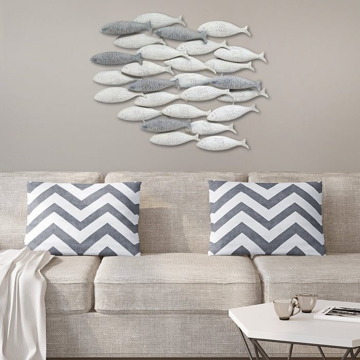 "HomeRoots 36.75"" X 2"" 26.25"" Gray School Of Fish Wall Decor"