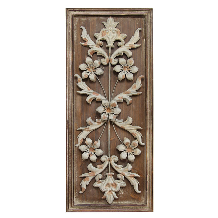 "HomeRoots 12"" X 1.375"" X 28"" Natural Wood Vintage Panel Wall Decor"