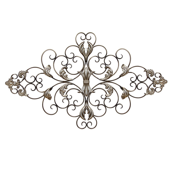 "HomeRoots 36"" X 0.75"" X 21.75"" Champagne Ornate Scroll Wall Decor"