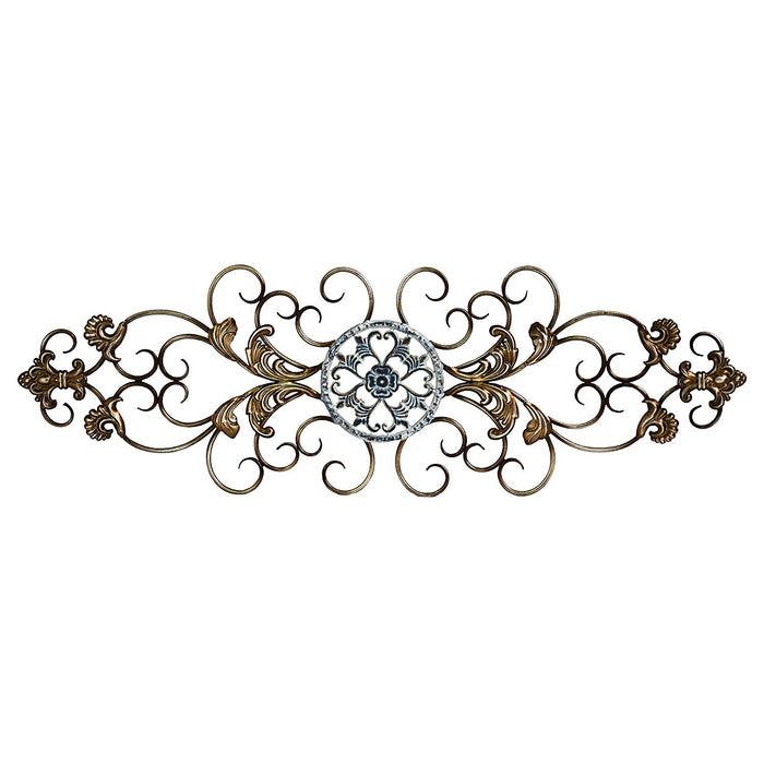 "HomeRoots 36"" X 0.5"" X 11.5"" Champagne Traditional Scroll Wall Decor"