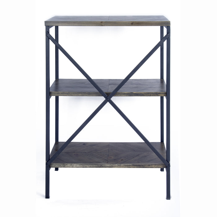 "HomeRoots Office 22"" X 12"" X 30'.25"" Grey Metal, Wood, MDF Bookcase with  Shelves"