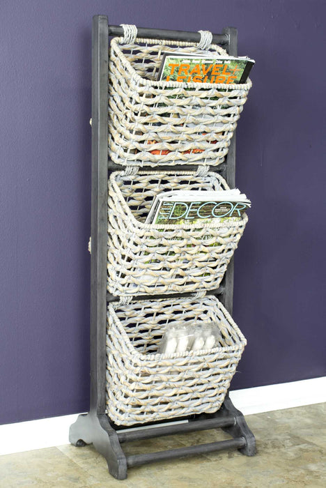 "HomeRoots Office 11'.8"" X 15"" X 42'.25"" Grey Wood, MDF, Water Hyacinth Water Hyacinth Magazine Rack with  Baskets"