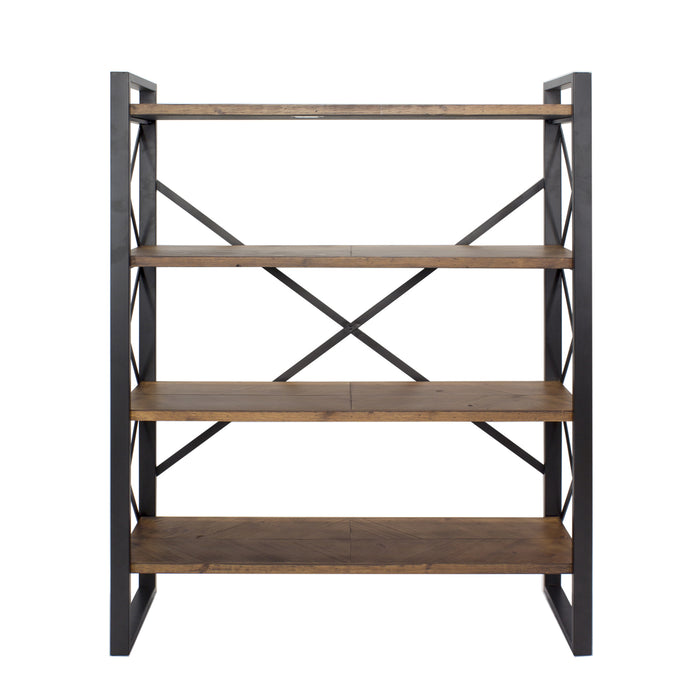 "HomeRoots Office 39'.75"" X 13"" X 48'.5"" Black w/ Natural Water Hyacinth Metal, Wood, MDF Bookcase with  Shelves"