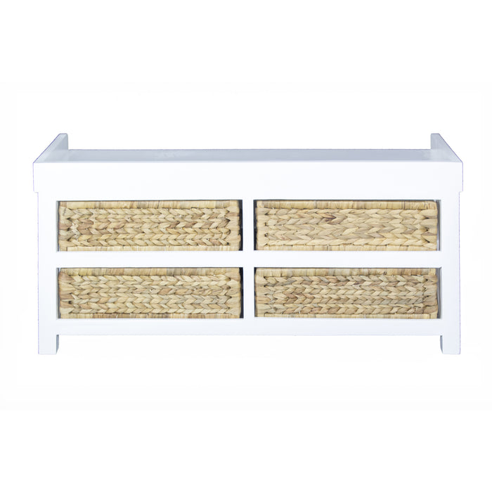 "HomeRoots Office 39'.75"" X 14"" X 18"" White MDF, Water Hyacinth Water Hyacinth Storage Bench with  Baskets"