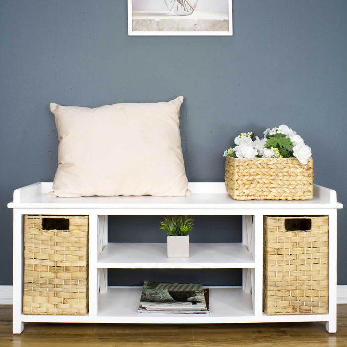 "HomeRoots Office 42"" X 14'.25"" X 18"" Black w/ Natural Water Hyacinth MDF,Rattan Skin Storage Bench with  Baskets"