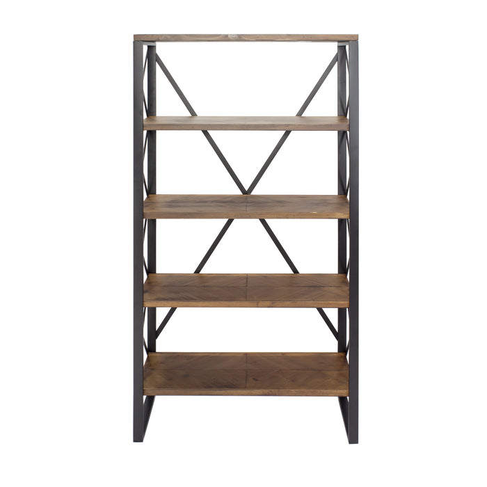 "HomeRoots Office 32'.75"" X 13'.5"" X 59"" Natural, Orange Metal, Wood, MDF Bookcase with  Shelves"