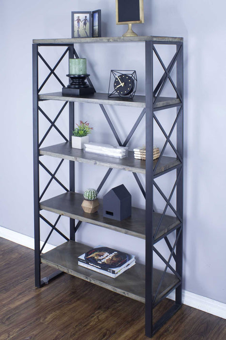 "HomeRoots Office 32'.75"" X 13'.5"" X 59"" Natural, Grey Metal, Wood, MDF Bookcase with  Shelves"