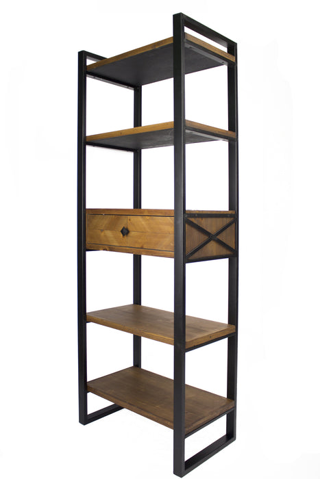 "HomeRoots Office 24"" X 14'.5"" X 67'.25"" Natural, Brown Metal, Wood, MDF Modern Shelf, Drawer Bookcase and Display Organizer, Brown"