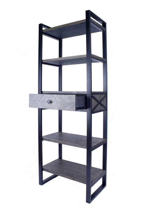 "HomeRoots Office 24"" X 14'.5"" X 67'.25"" Natural, Grey Metal, Wood, MDF Modern Shelf, Drawer Bookcase and Display Organizer, Grey"