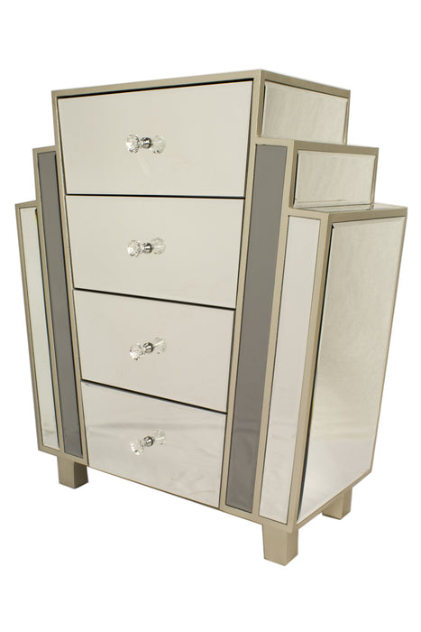 "HomeRoots Office 27"" X 12"" X 32"" Gray MDF, Wood, Mirrored Glass Accent Cabinet with  Drawers"