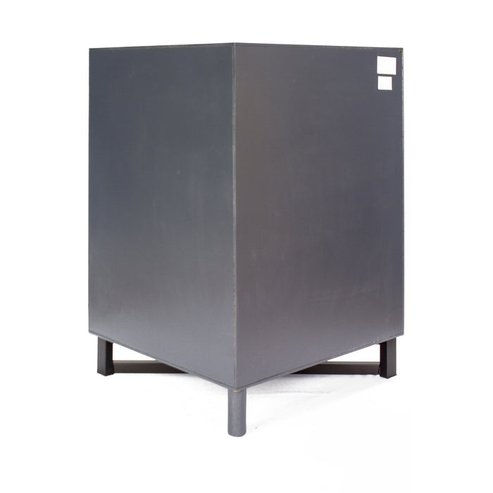 "HomeRoots Office 31"" X 17"" X 32"" Gray MDF, Wood, Metal Corner Cabinet with  Doors and a Shelf"