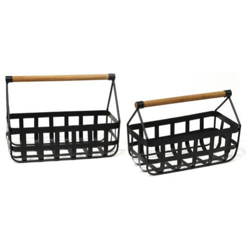 "HomeRoots Office 6.13""x 12.5""x 8.5"" Modern Farmhouse Black/Tan Basket Set"