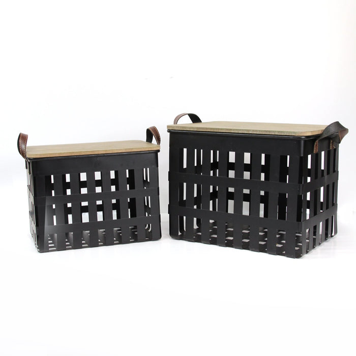 HomeRoots Office Metal Storage Baskets with Wood Tops Set of 2
