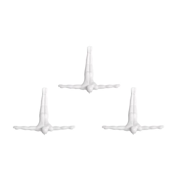 "HomeRoots 6.5"" x 2.5"" x 6.5"" Wall Diver - White 3-Pack"