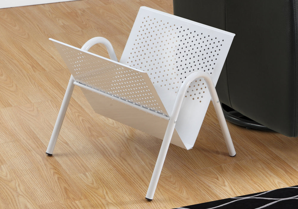 "HomeRoots Office 15"" x 16'.5"" x 14'.5"" White, Metal - Magazine Rack"