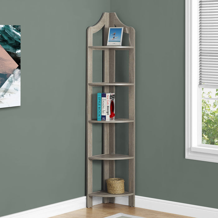 "HomeRoots Office 12'.25"" x 17'.5"" x 71"" Dark Taupe, Particle Board, Corner Accent Shelf - Bookcase"