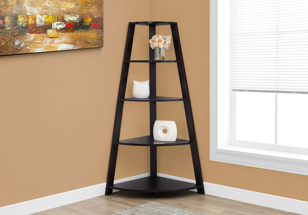 "HomeRoots Office 24.25"" x 34.25"" x 60"" Cappuccino, Black, Particle Board - Bookcase Corner Accent Shelf"