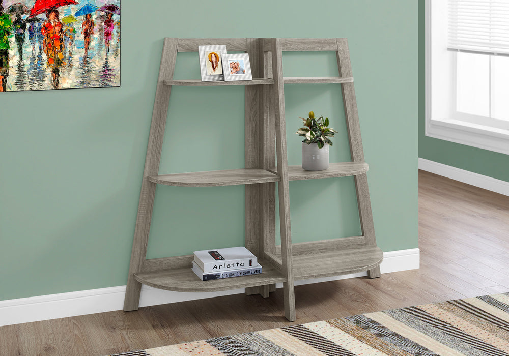 "HomeRoots Office 15.5"" x 51"" x 47"" Dark Taupe, Particle Board - Bookcase - Accent Shelf"