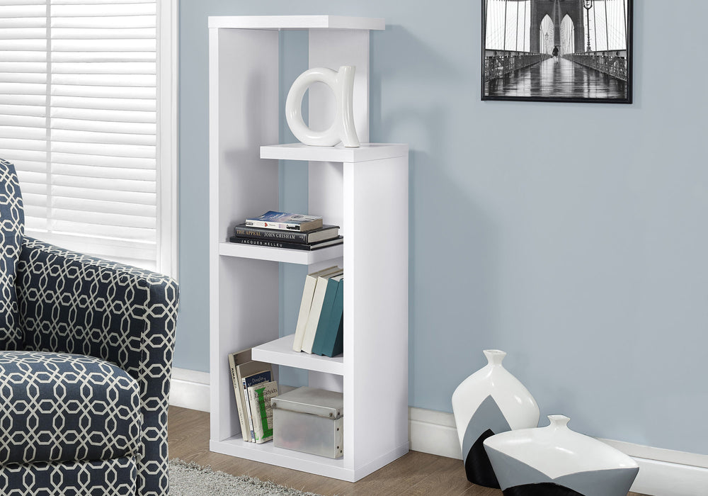 "HomeRoots Office 12"" x 18.5"" x 47.25"" White, Particle Board, Hollow-Core - Bookcase"