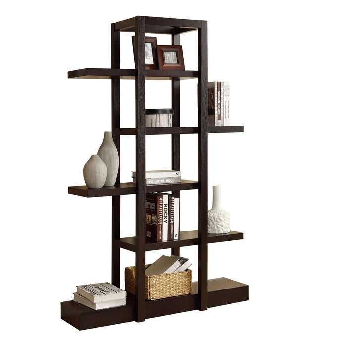 "HomeRoots Office 14"" x 47"" x 71"" Cappuccino, Particle Board, Bookcase, Open Concept - Display Shelf"
