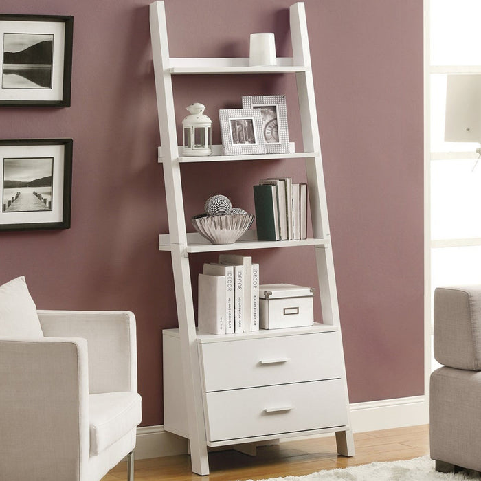 "HomeRoots Office 16'.75"" x 25'.5"" x 69"" White, Particle Board, Hollow-Core - Bookcase with 2 Storage Drawers"