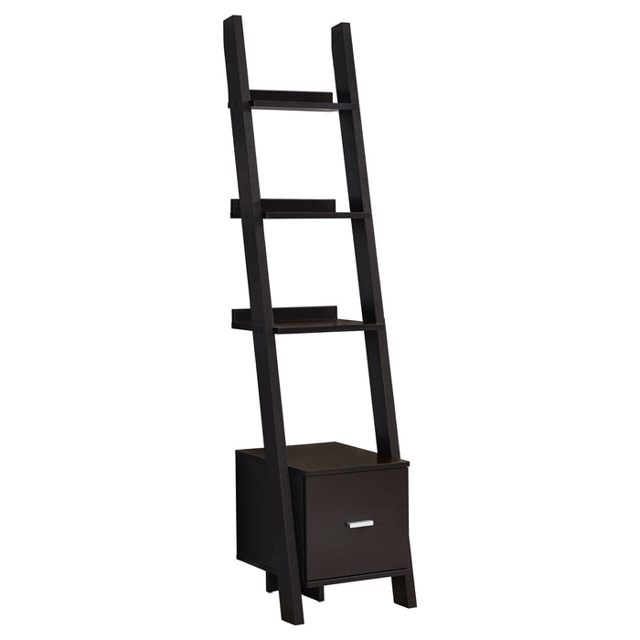 "HomeRoots Office 69"" Particle Board Ladder Bookcase with a Storage Drawer"
